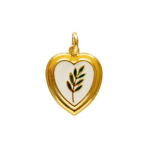 PI-013-D - Pingente Coração com Acácia Dourado Fundo Branco