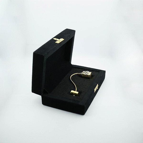 PR-002-D1 - Prumo Dourado com Esquado e Compasso - Com Estojo