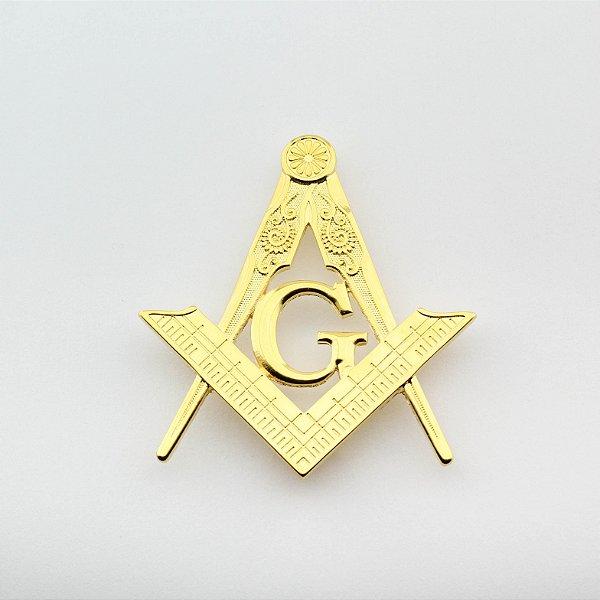 AP-034-D - Aplique Esquadro e Compasso Dourado com Grampo - 7 cm