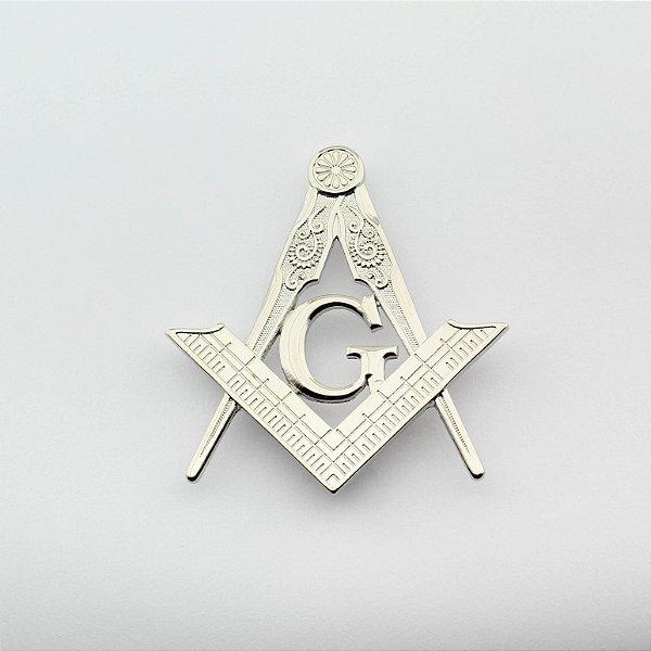 AP-034-N - Aplique Esquadro e Compasso Niquelado – 7 cm – Com Garra