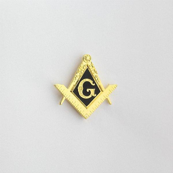 AP-036-D - Aplique Esquadro e Compasso Preto Dourado - com garra