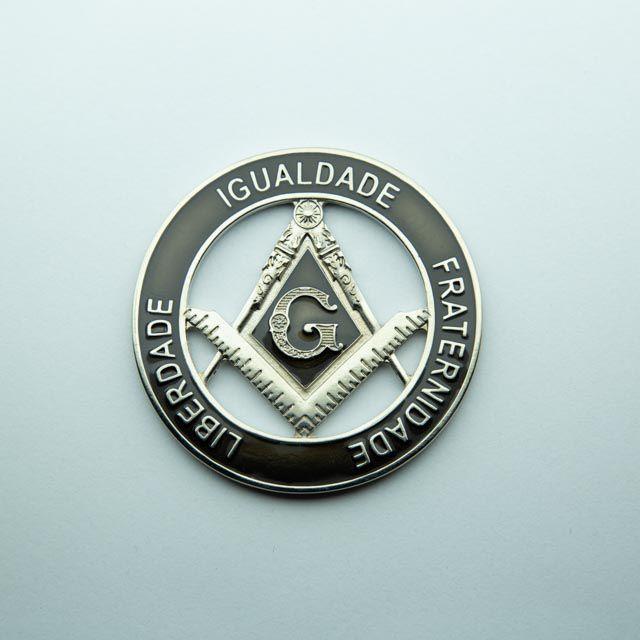 AP-037-N - Aplique Liberdade - Igualdade - Fraternidade Niquelado - 70 mm