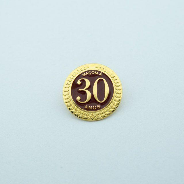 BT-275 - Pin Tempo de Maçonaria - 30 Anos