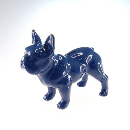 Cofre Decorativo Bulldog Azul Em Pé