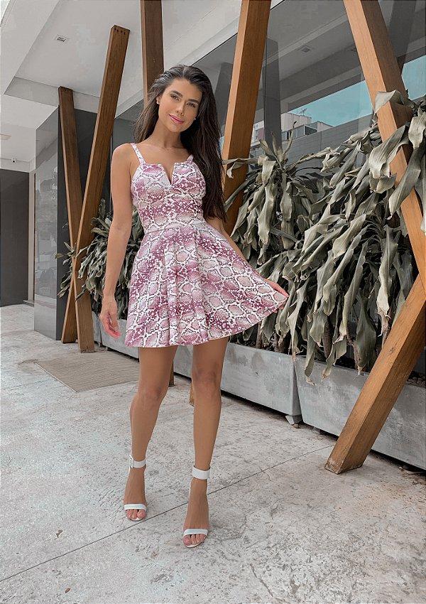 Vestido Evasê Piton Rose e Branco