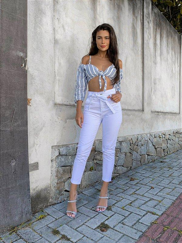 Calça  Jeans Clochard Branca Skinny