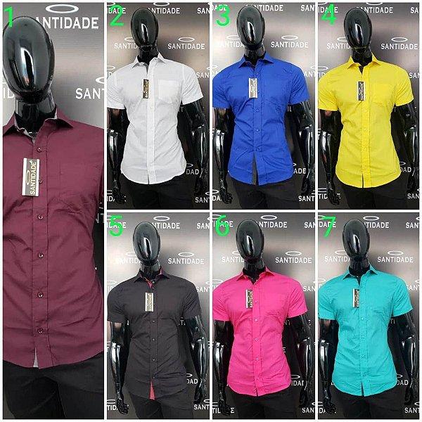 Atacado Camisas social Slim Fit Manga Curta Quantidade Minima 12 Camisas 85df34e8850