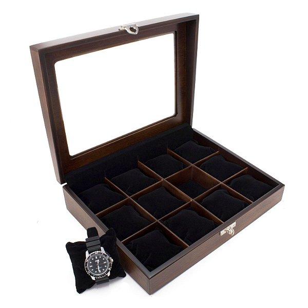 Caixa 12 Relógios envelhecida forro preto