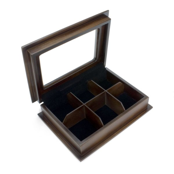 Caixa para 6 chás envelhecido preto