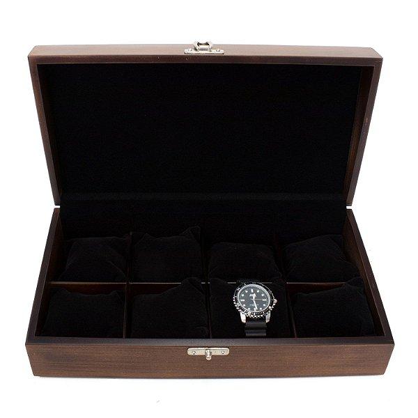 Caixa para 8 relógios envelhecido forro preto