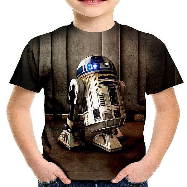 Camiseta Infantil R2 D2 Star Wars Estampa Total Md01