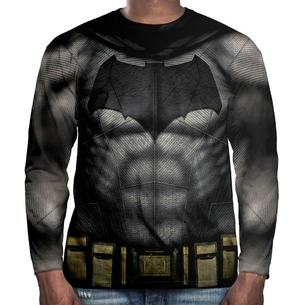 Camiseta Batman Manga Longa Unissex Traje