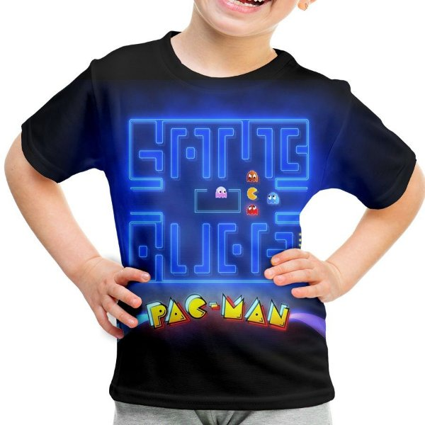 Camiseta Infantil Pac Man Estampa Total