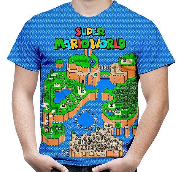 Camiseta Masculina Jogo Super Mario World Estampa Hd Md04