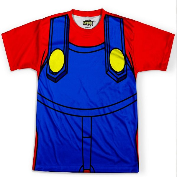 Camiseta Masculina Traje Mario Super Mario Bros