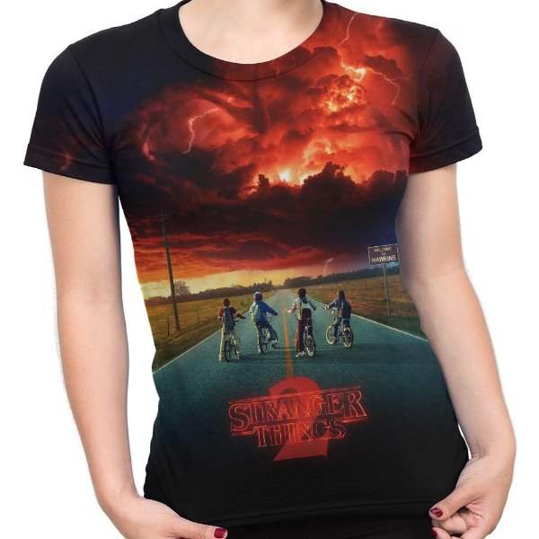 Camiseta Baby Look Feminina Série Stranger Things Md02