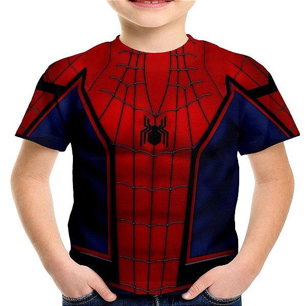 Camiseta Infantil Homem Aranha Traje Estampa Total Md05