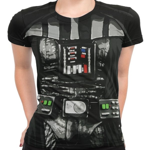 Baby Look Feminina Darth Vader Star Wars Traje
