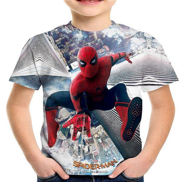 Camiseta Infantil Homem Aranha De Volta ao Lar Estampa Total