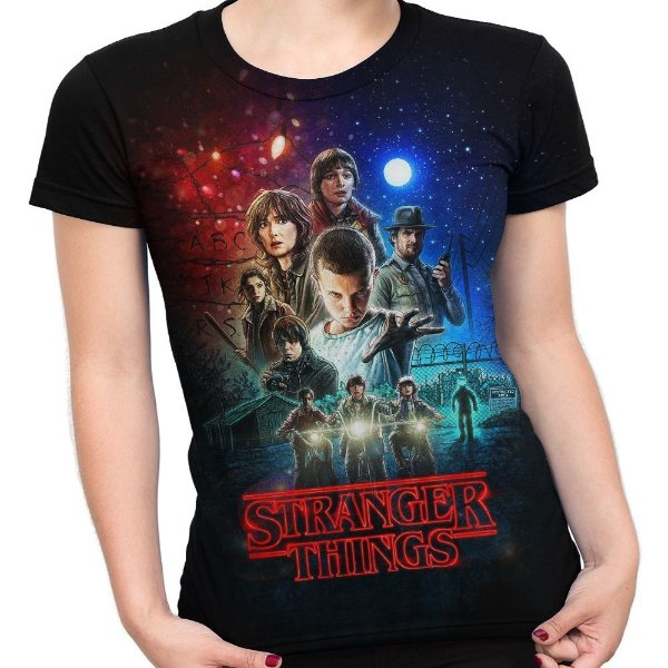 Baby look Feminina Stranger Things Estampa Total