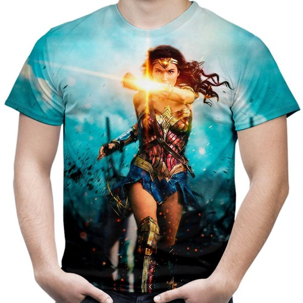 Camiseta Masculina Filme Mulher Maravilha Estampa Digital