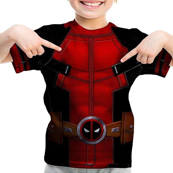 Camiseta Infantil Deadpool Traje Estampa Total
