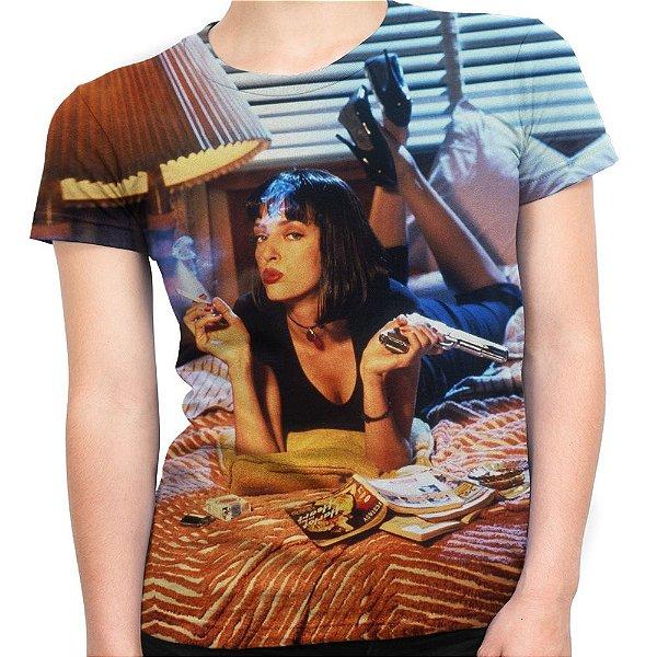 Camiseta Baby Look Feminina Pulp Fiction Tempo De Violência