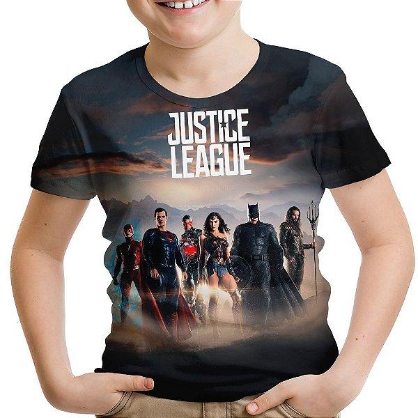 Camiseta Infantil Liga da Justiça Estampa Total