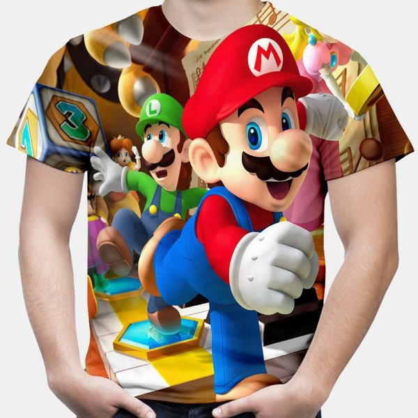Camiseta Masculina Mario Bros Estampa Total Md01