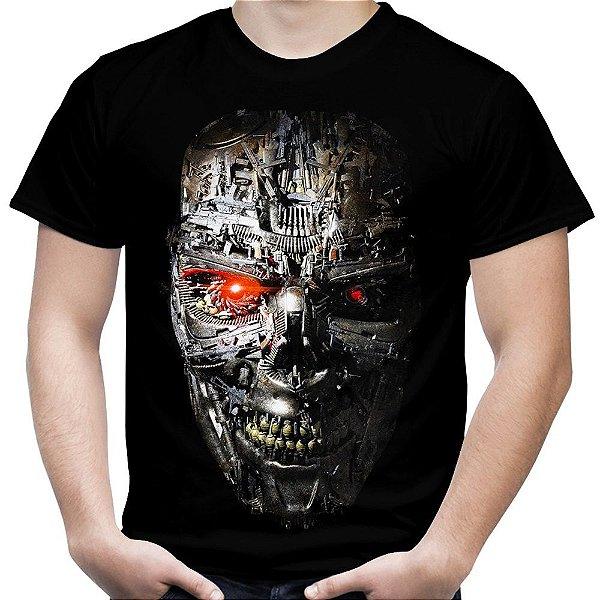 Camiseta Masculina Exterminador do Futuro T-800 Estampa Total