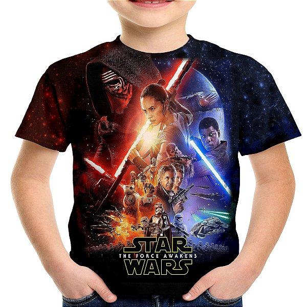 Camiseta Infantil Star Wars Episode VII Estampa Total Md02