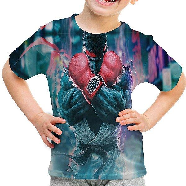 Camiseta Infantil Ryu Street Fighter Estampa Total