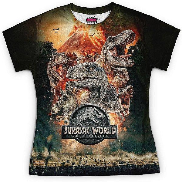 Baby look Feminina Parque dos Dinossauros Estampa Total Md04