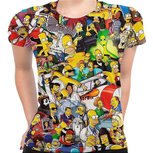 Camiseta Baby Look Feminina Os Simpsons Estampa Digital Md02