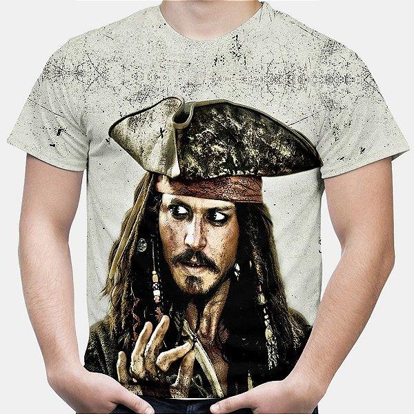 Camiseta Masculina Jack Sparrow Piratas do Caribe Estampa Total