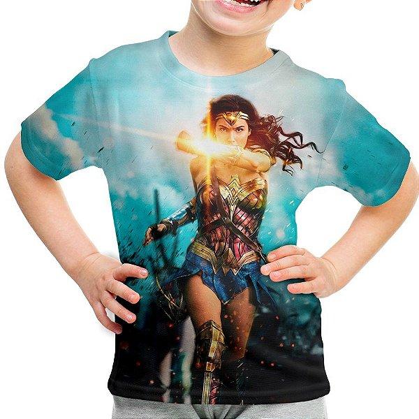 Camiseta Infantil Mulher Maravilha Estampa Digital Md02