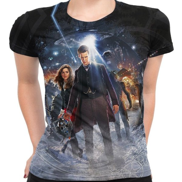 Baby look Feminina Doctor Who Estampa Total Md07