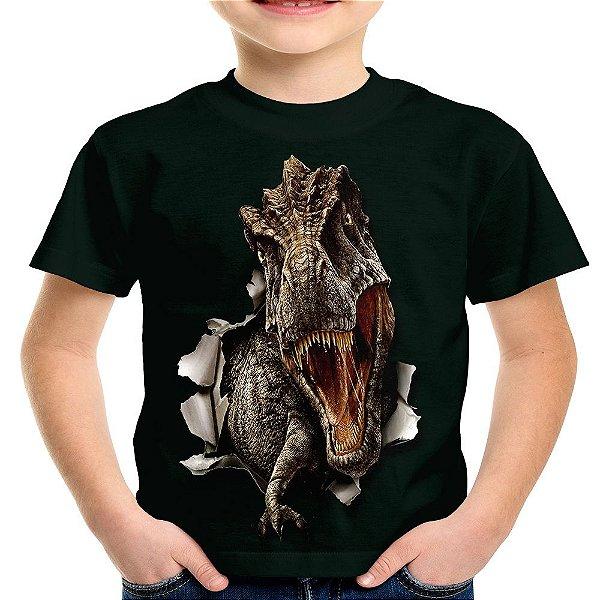 Camiseta Infantil T-Rex Estampa Total Md01