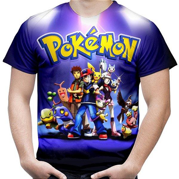 Camiseta Masculina Pokemon Estampa Total MD03
