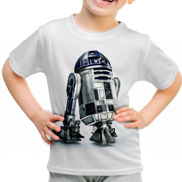 Camiseta Infantil R2 D2 Star Wars Estampa Total Md02