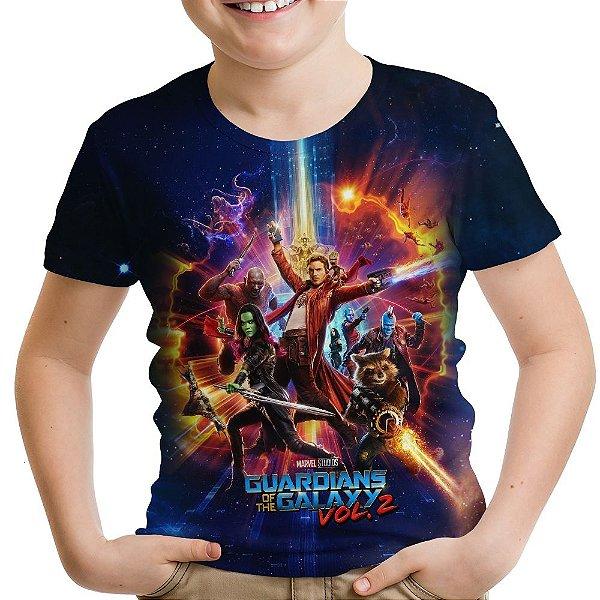 Camiseta Infantil Guardiões da Galáxia volume 2 Estampa Total MD04