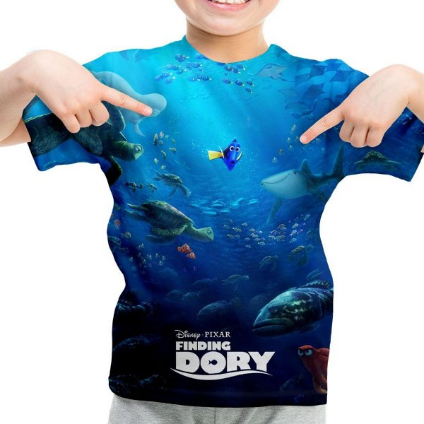 Camiseta Infantil Procurando Dory Estampa Total MD02