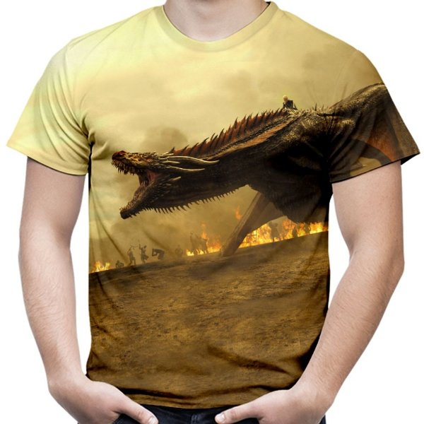 Camiseta Masculina Game Of Thrones Daenerys Dragões Got