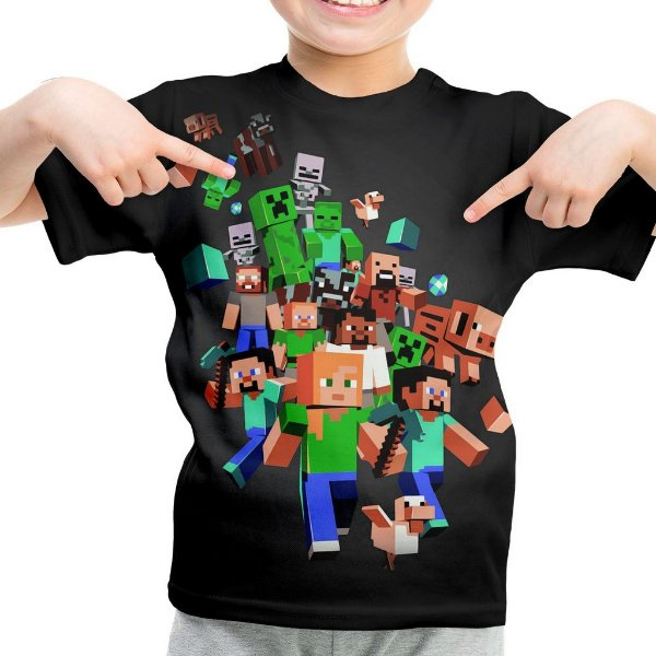 Camiseta Infantil Minecraft Estampa Total Md04