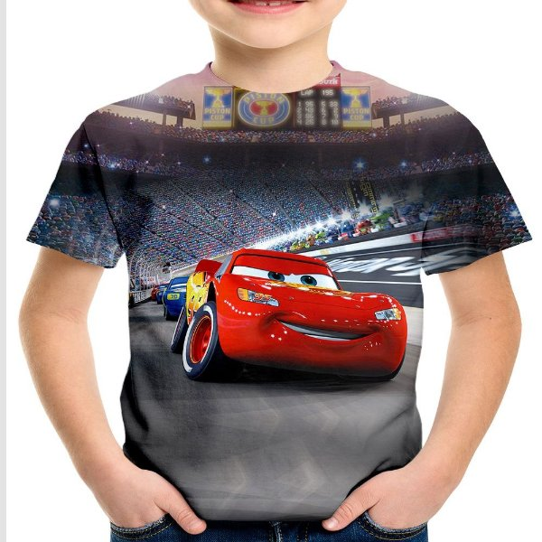Camiseta Infantil Filme Carros Cars Estampa Total