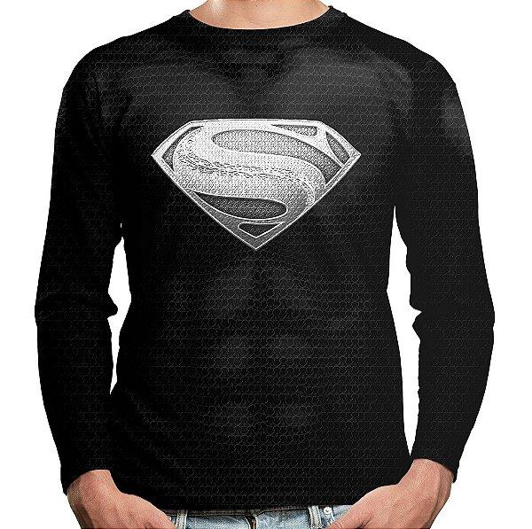 Camiseta Superman Super-Homem Manga Longa Unissex Black