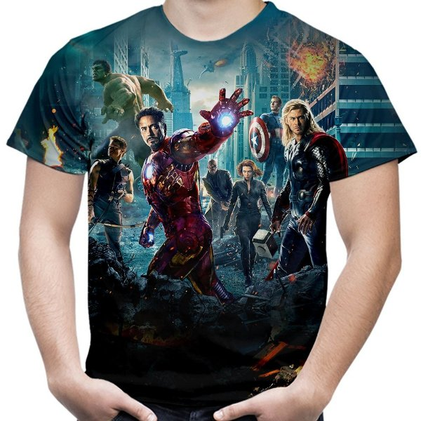 cf9b86788 Camiseta Masculina Os Vingadores Avengers Estampa Total Md02 - Smart4Me
