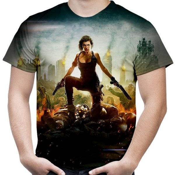 Camiseta Masculina Resident Evil Estampa Total