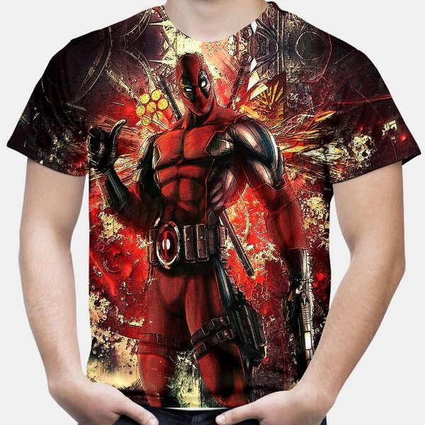Camiseta Masculina Deadpool Estampa Total MD01