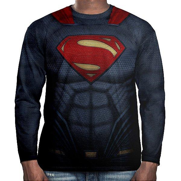 Camiseta Superman Super-Homem Manga Longa Unissex Traje
